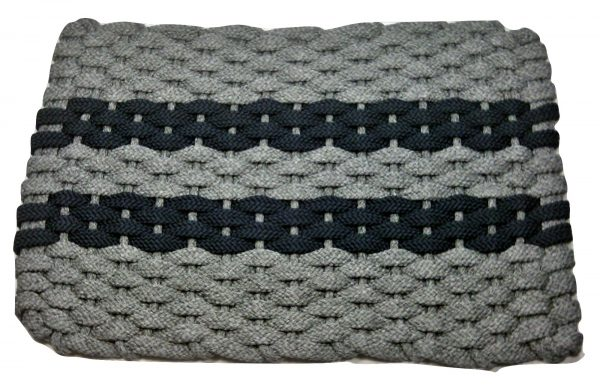 #319 Rockport Rope Mat Gray 2 Navy Stripes