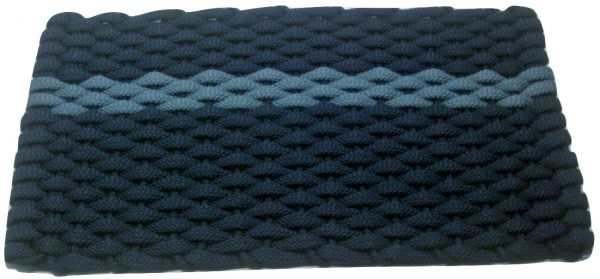 #345 Rockport Rope Mat Navy - Offset Light Blue Stripe