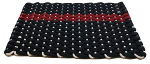 #348 Rockport Rope Mat Navy offset Red Stripe White insert