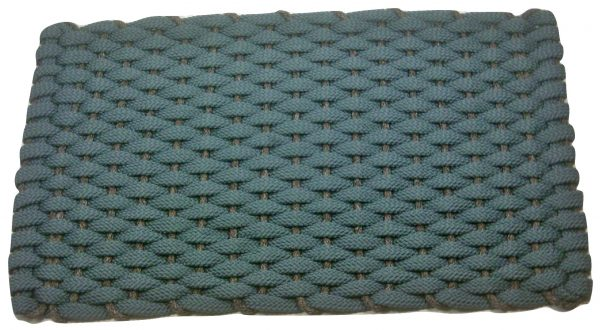 #349 Rockport Rope Mat Light Blue with Brown insert
