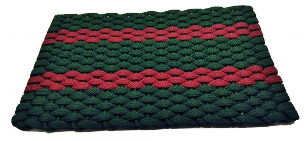 #361 Rockport Rope Mat Green 2 Red Stripes
