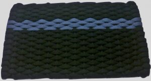 #373 Rockport Rope Mat Black - Offset Light Blue Stripe