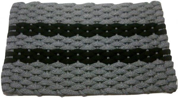 #383 Rockport Rope Mat Gray 2 Black Stripes