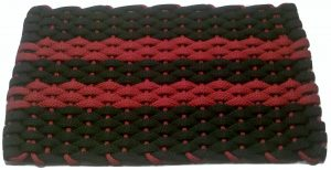 #385 Rockport Rope Doormat Black 2 Red stripes and Red insert