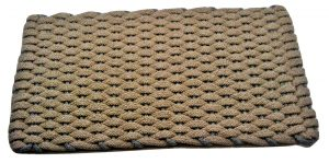 #387 Rockport Rope Door Mat Tan with Gray insert