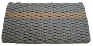 #389 Rockport Rope Mat Gray - Offset Tan Stripe