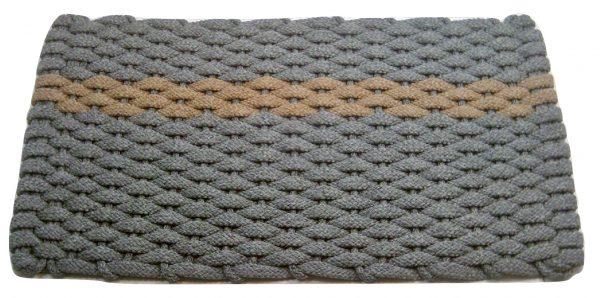 #389 Rockport Rope Mat Gray - Offset Tan Stripe