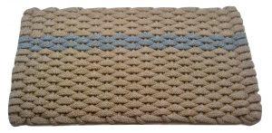 #390 Rockport Rope Mat Tan - Offset Gray Stripe