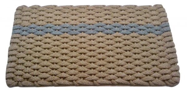 #390 Rockport Rope Mat Tan - Offset Gray Stripe
