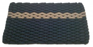 #391 Rockport Rope Mat Tan - Offset Navy Stripe