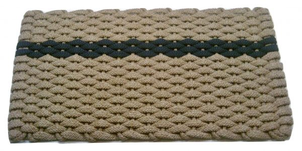 #392 #392 Rockport Rope Mat Tan Navy offset stripe