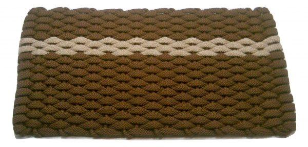 #394 Rockport Rope Mat Brown offset Tan stripe