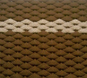 #394 Rockport Rope Mat Brown offset Tan stripe