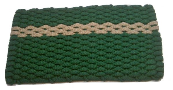 #395 #395 Rockport Rope Mat Green offset Tan stripe