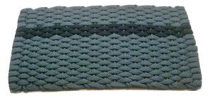 #396 Rockport Rope Mat Light Blue offset Navy stripe