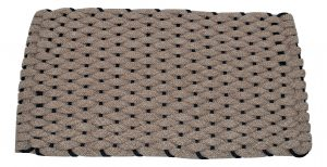 Rockport Ultra Plush Rope Doormat Tan with Navy insert