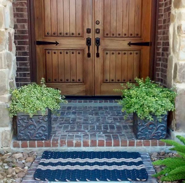 Rockport Rope Door Mat Navy 2 Tan stripes